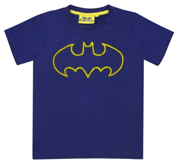 KIDS BATMAN TUFT LOGO TEE NAVY