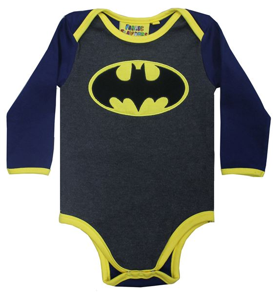 BATMAN LOGO BABYGROW GREY MARL