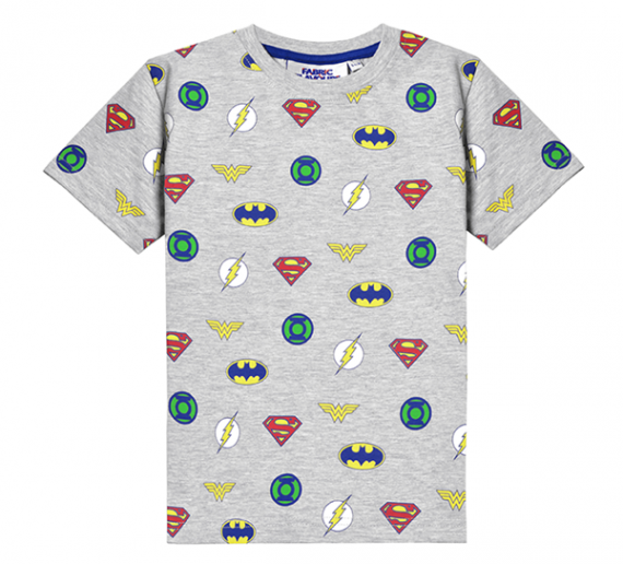 JUSTICE LEAGUE MULTI LOGO TEE GREY