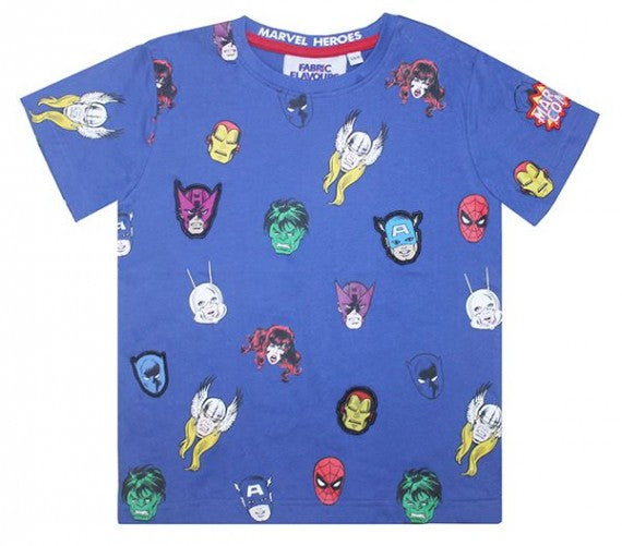 MARVEL HEROS REPEAT PRINT TEE BLUE
