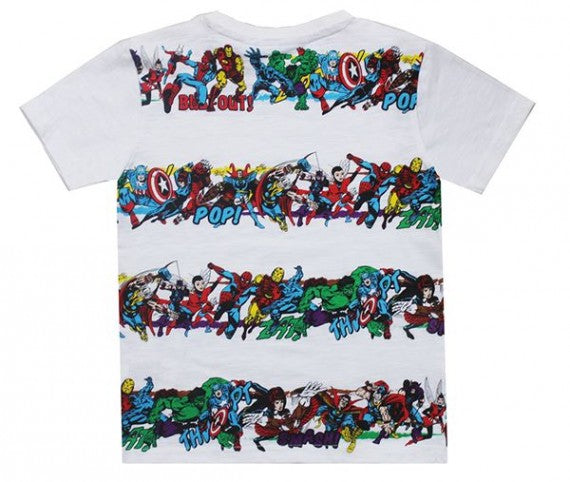 MARVEL HEROS STRIPE TEE GREY