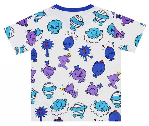 KIDS MR MEN REPEAT PRINT TEE BLUE