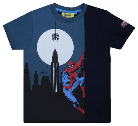 kids SPIDERMAN GLOW IN THE DARK WALL TEE NAVY
