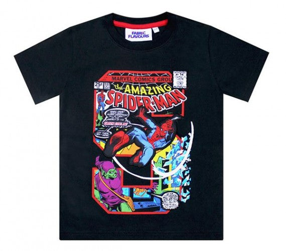 SPIDER-MAN S APPLIQUE TEE BLACK