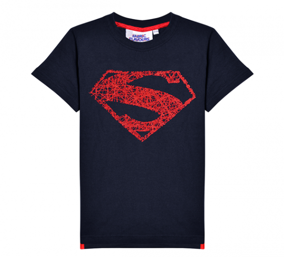 SUPERMAN METALLIC THREAD LOGO TEE NAVY