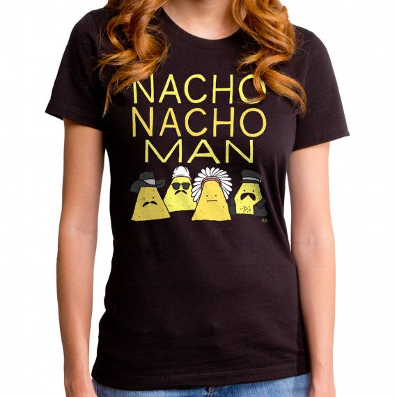 WOMENS NACHO MAN T SHIRT BLACK