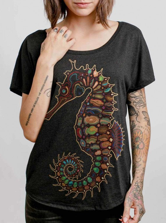WOMENS SEAHORSE T-SHIRT CHARCOAL