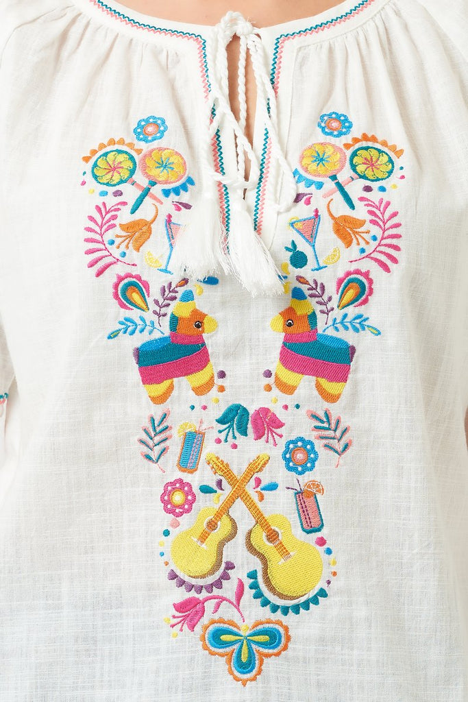 Havana Fiesta Embroidered Top
