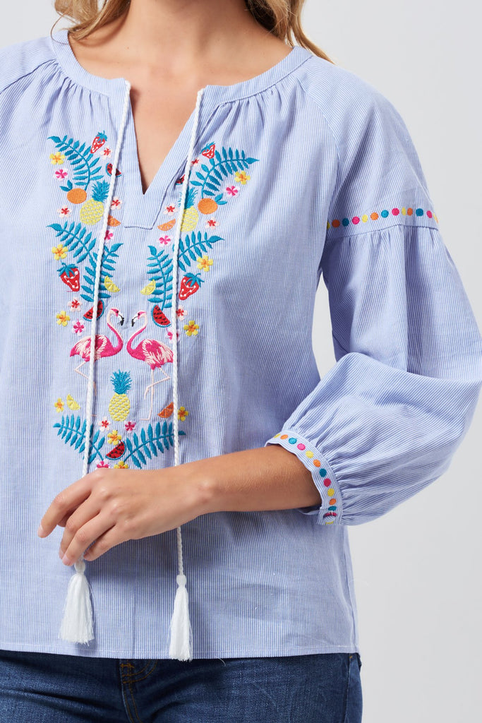 Flamingo Embroidered Boho Top