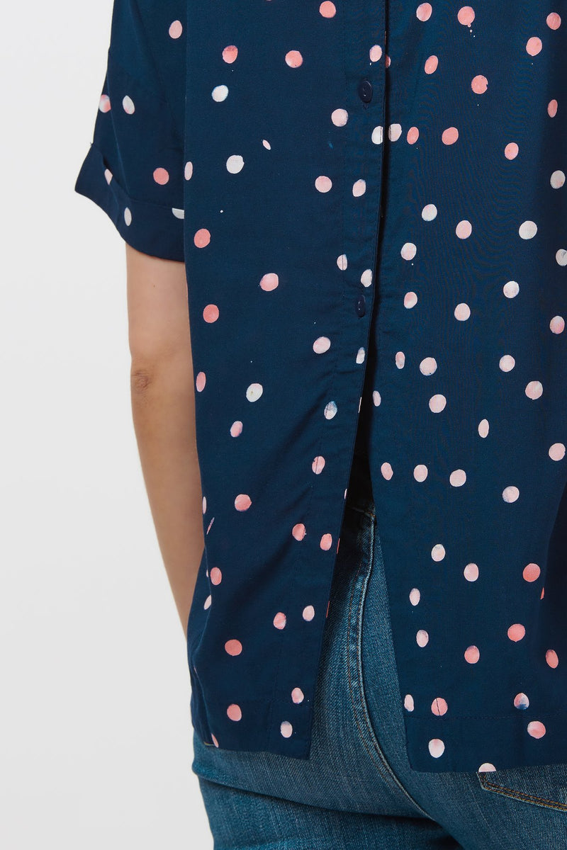 Aluna Polka Batik Button Back Top