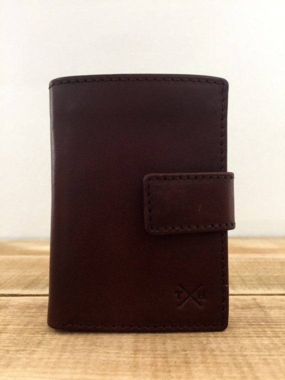 BROWN TUDOR LEATHER CARD WALLET BROWN
