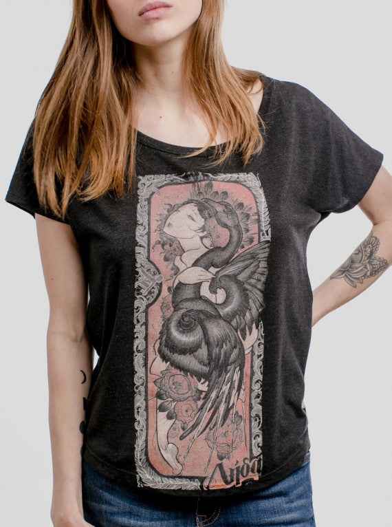 WOMENS LADY AND THE SWAN T-SHIRT CHARCOAL