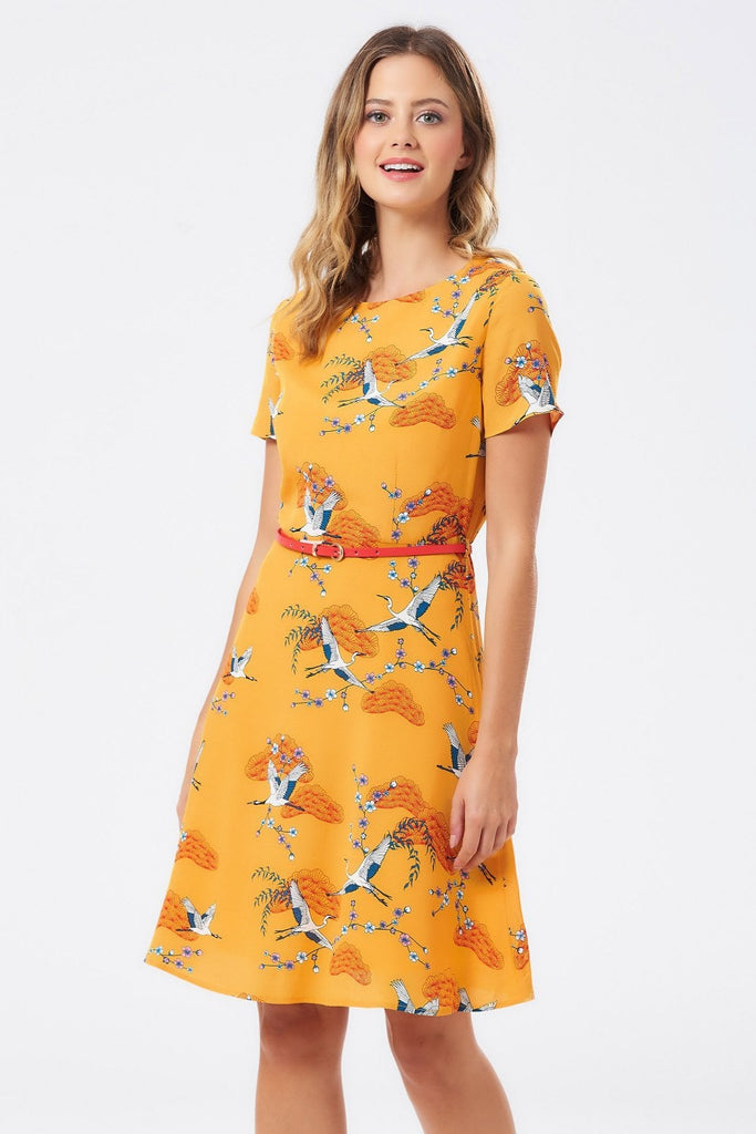 Ohara Birds Fit & Flare Dress