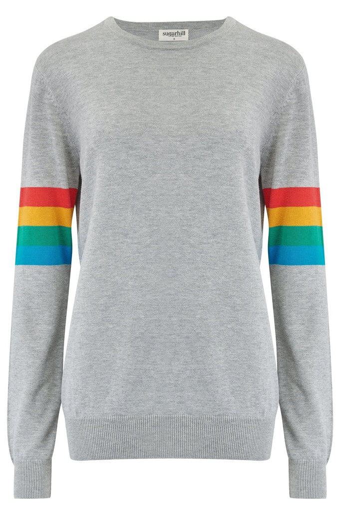 Rita Rainbow Stripe Sleeve Sweater