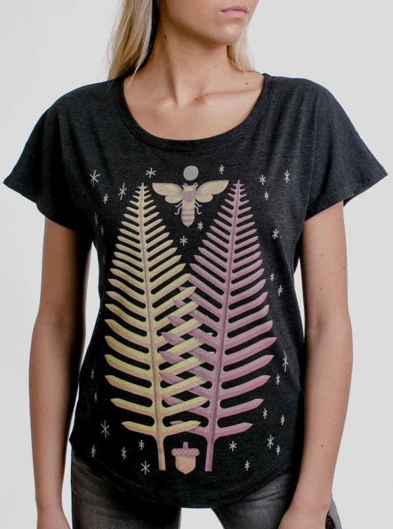 WOMENS SLOW GROWTH FERN T-SHIRT CHARCOAL