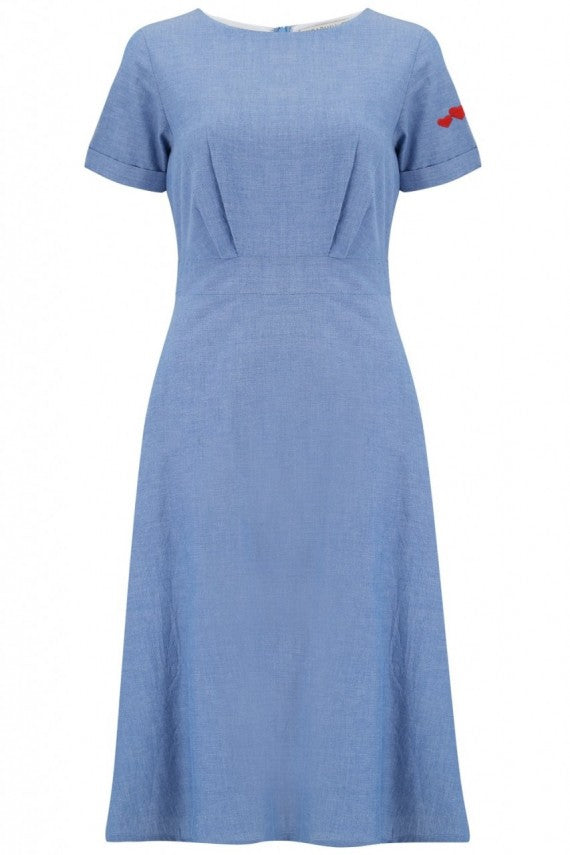 JAYA CHAMBRAY HEART DRESS BLUE