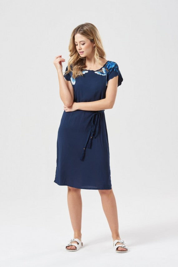 HUMMING BIRD ARTWORK DRESS NAVY