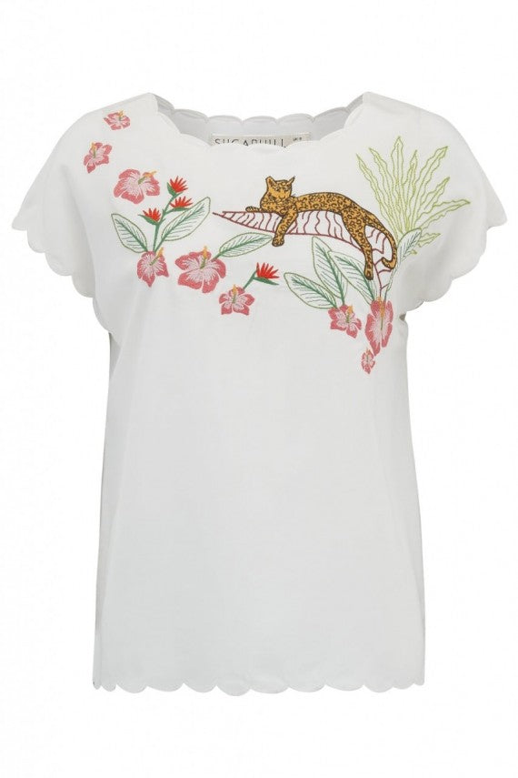 Jungle Cat Embroidered Top