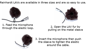 Lavelier microphone fur covers. Protect your microphone against wind noise.
