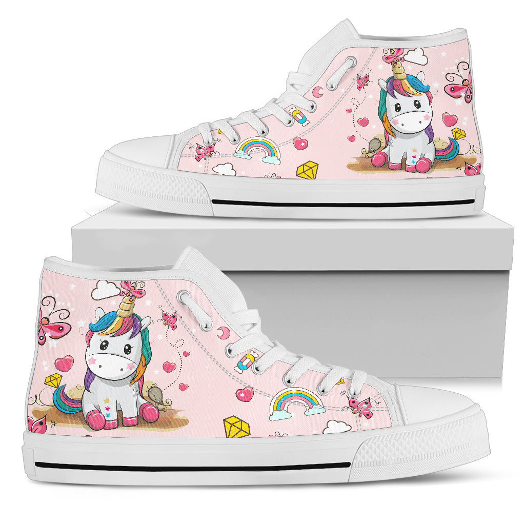 Pinky Unicorn Women's High Top Shoe