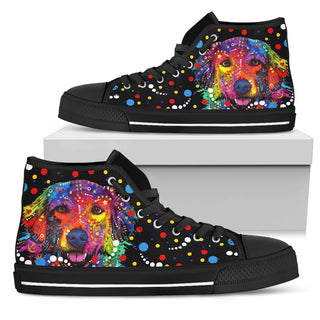 Golden Retriever Dog Women's Black High Top Shoe