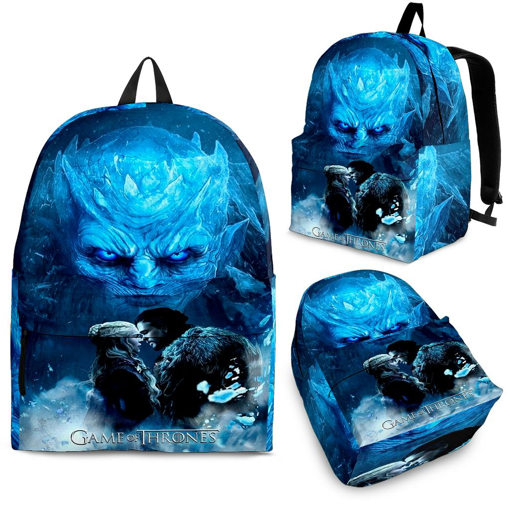 GOT Game Of Thrones - Jon Snow, Dany, Night King Art Backpack - Back To School Sale