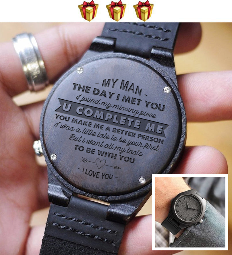 Engraved Wooden Watch - My Man