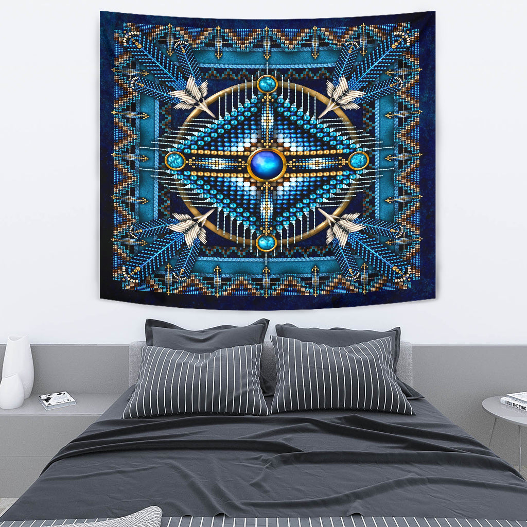 Blue Native Pattern Premium Tapestry