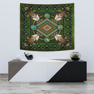 Green Native Pattern Premium Tapestry