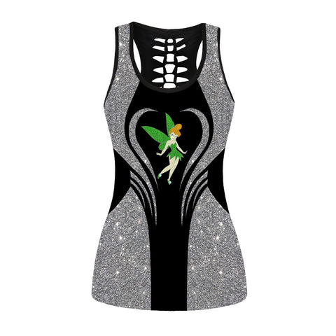 Glitter Sparkling Tinker Bell Hollow Out Tanktop