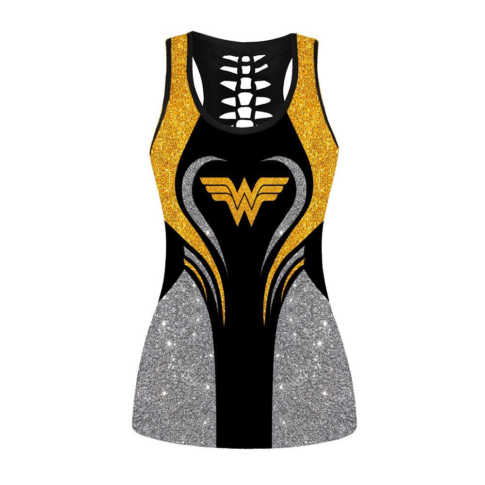 Glitter Wonder Woman Hollow Out Tanktop