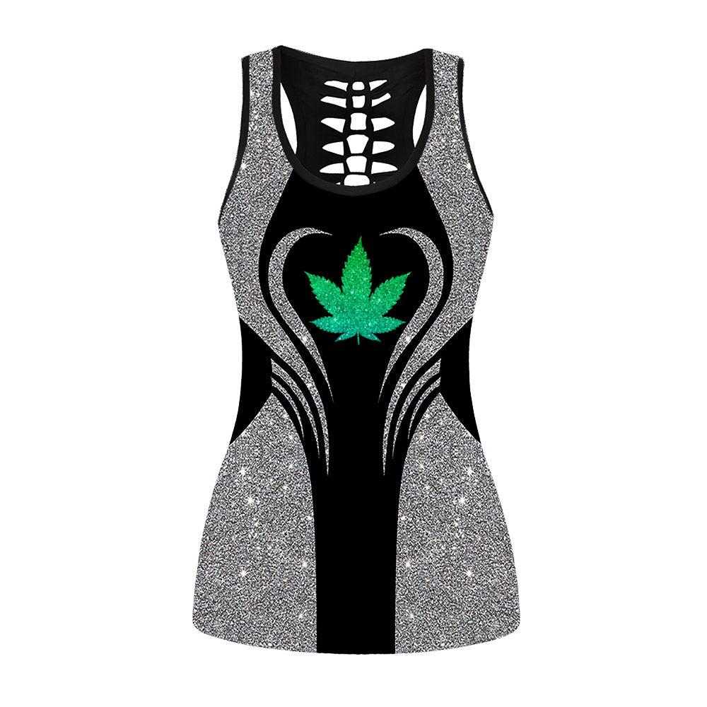 Glitter Cannabis Pattern Hollow Out Tanktop