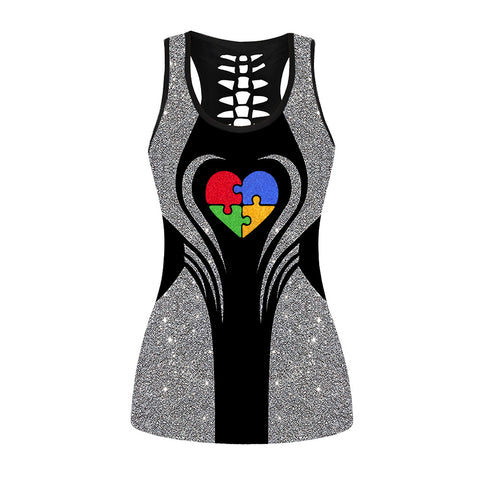Glitter Autism Heart Hollow Out Tanktop