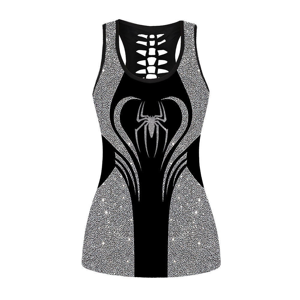 Glitter Spider Woman Hollow Out Tanktop