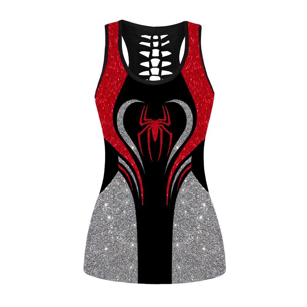 Glitter Red Spider Woman Hollow Out Tanktop