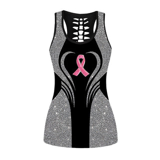 Glitter Pink Ribbon Breast Cancer Awareness Hollow Out Tanktop