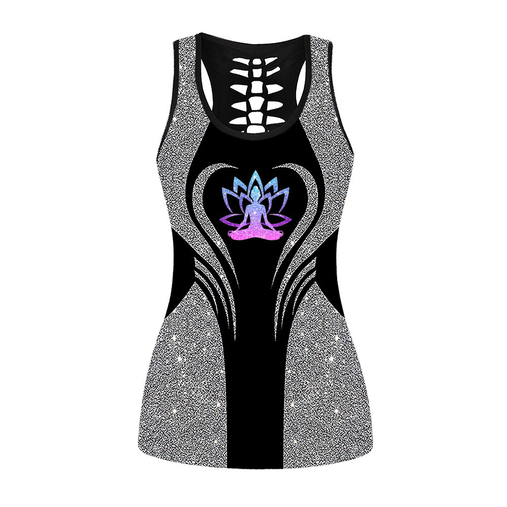 Glitter Yoga Lotus Flower Hollow Out Tanktop
