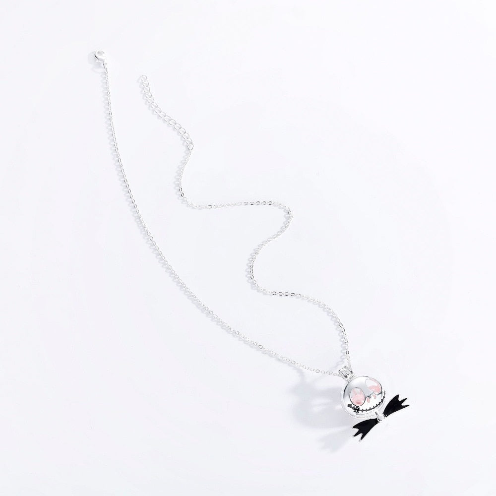 Jack Skellington Pearl Eyes Silver Chain Necklace