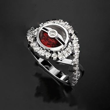 Pokemon Poke Ball  Crystal  Rhinestones Silver Ring