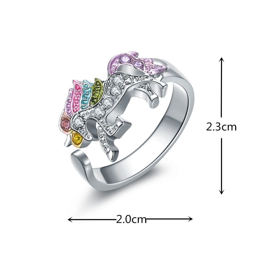 Colorful Crystal Rhinestones Unicorn Adjustable Ring