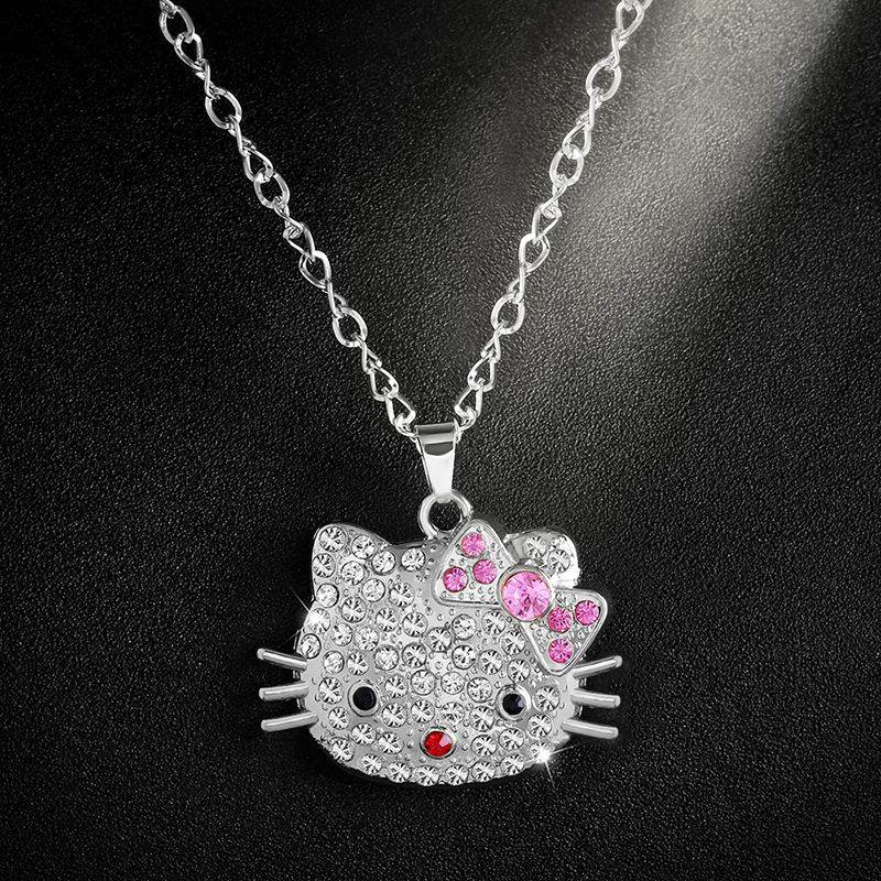 Cute Hello Kitty Rhinestone Crystal Charm Silver Necklace