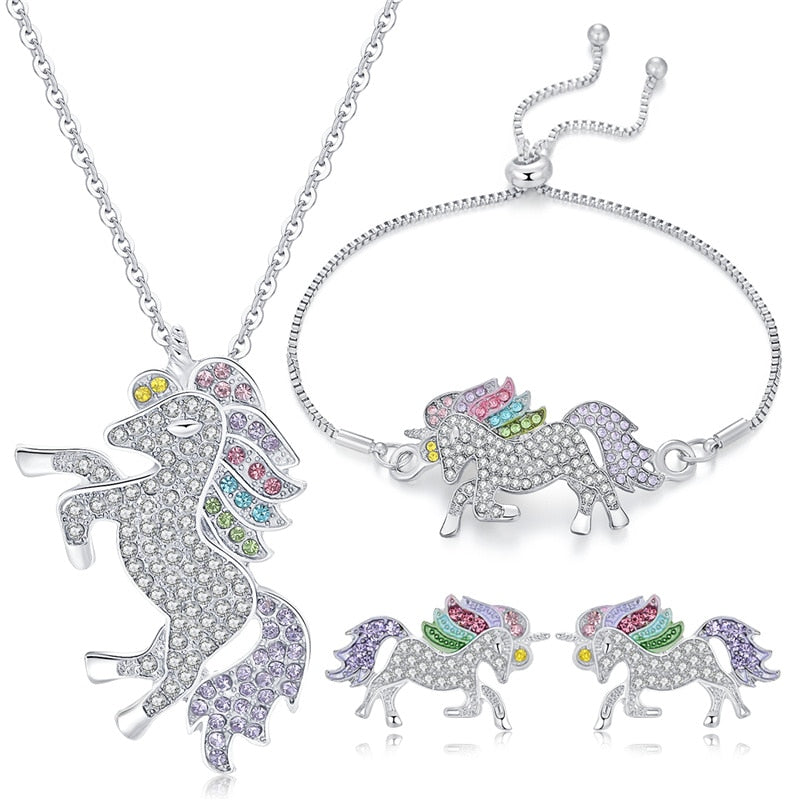 Rhinestone Crystal Rainbow Unicorn Charm Necklaces & Earrings & Bracelets