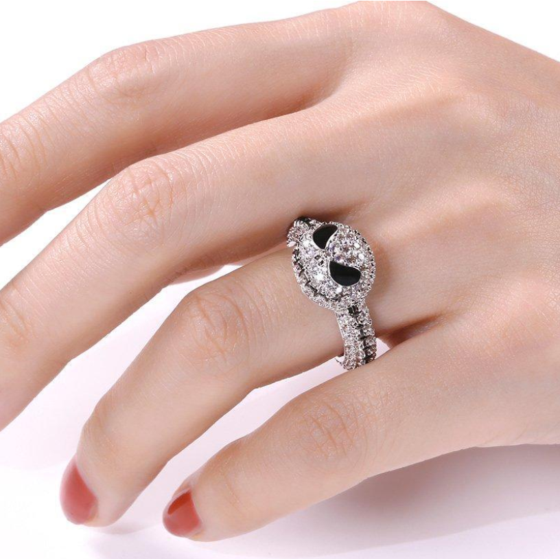 Sterling Silver Jack Skellington Skull Ring Jewelry