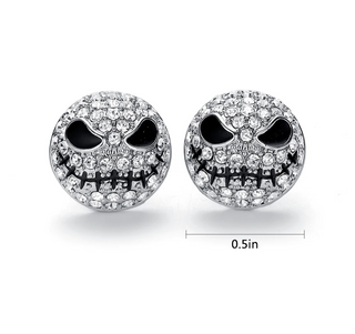 Sterling Silver Jack Skellington Skull Stud Earrings