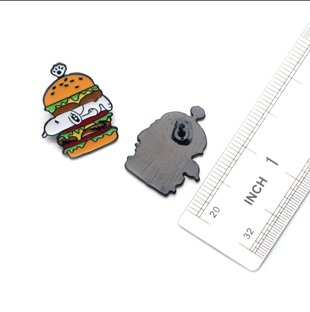 Cool Snoopy In Hot Dogs Burger Enamel Pins and Brooches