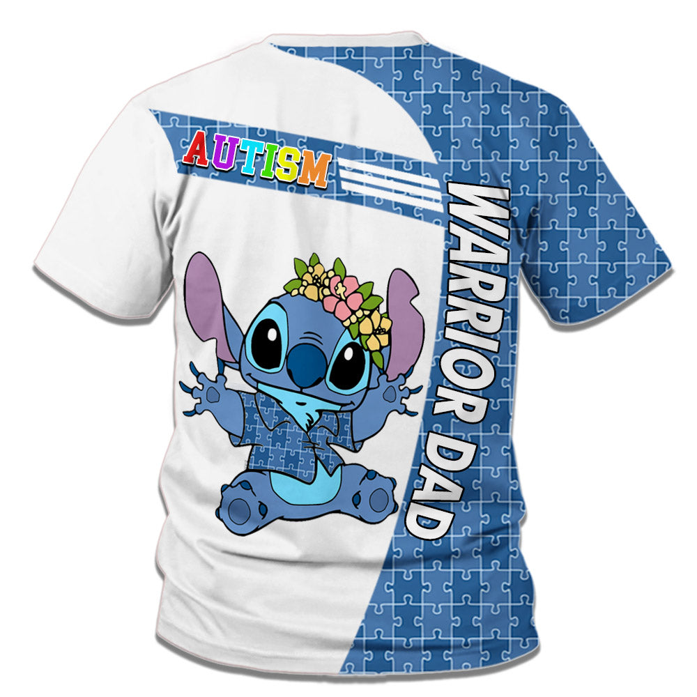 Stitch Autism Warrior All Over Printed T-shirt For Dad/Mom/Kid