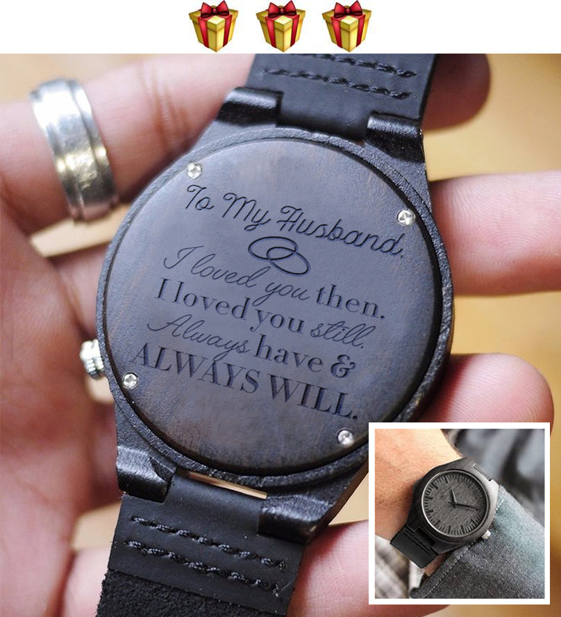 Engraved Wooden Watch - To My Husband