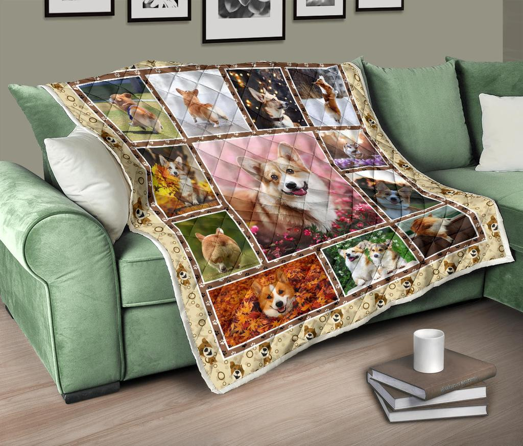 Lovely Corgi Dog Premium Quilt Blanket