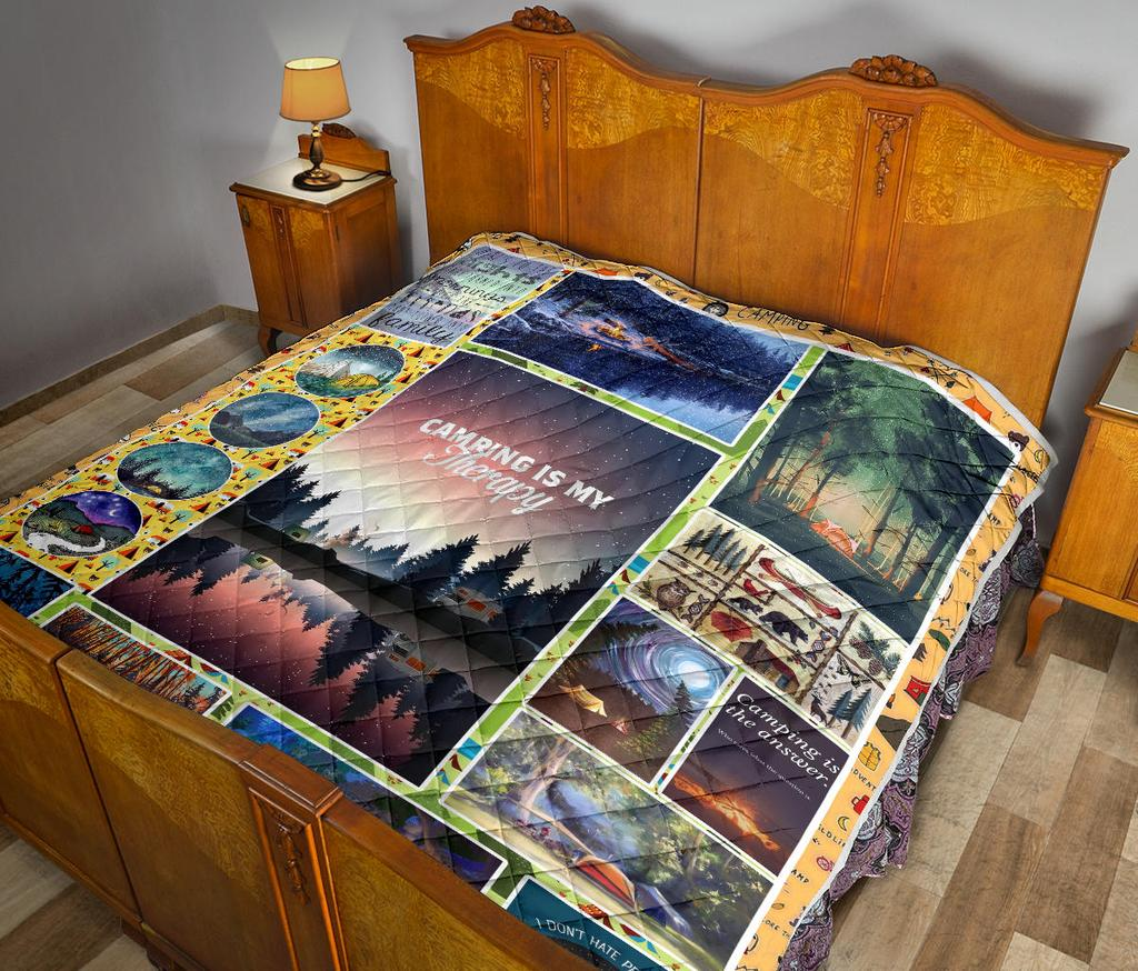 Camping Is My Therapy Premium Quilt