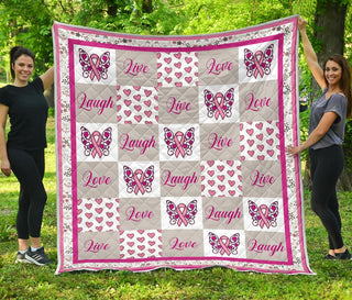 Live Laugh Love Breast Cancer Awareness Premium Quilt Blanket
